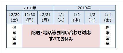 2018年~2019年、年末年始営業日のご案内